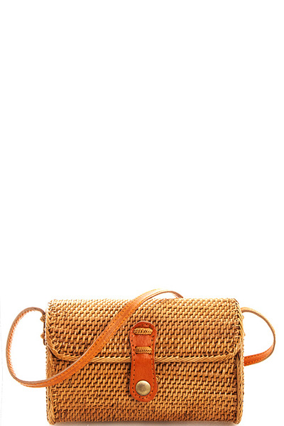 Trendy Cute Natural Straw Woven Crossbody Bag