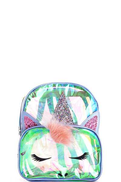 Chic Hologram Tint Transparent Unicorn Backpack
