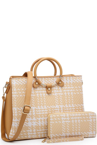 Check Woven Round Top Handle 2-in-1 Satchel