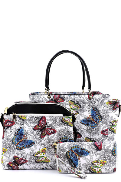 Flower Butterfly Printed 3-in-1 Satchel