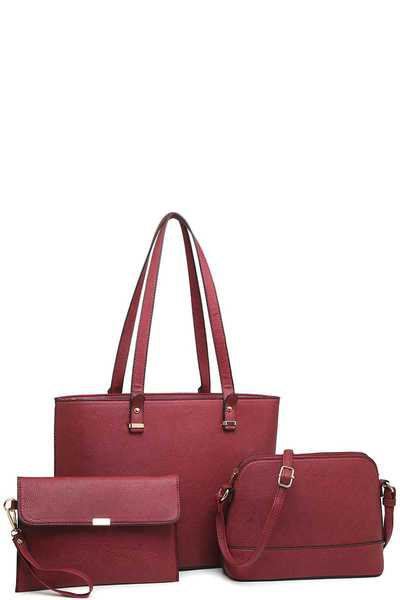 3IN1 TRENDY LEATHER PLAIN STYLE TOTE BAG WITH MINI BAG AND CLUTCH SET