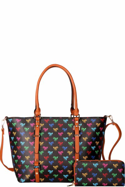 Colorful Monogram Print Shopper Tote Wallet SET