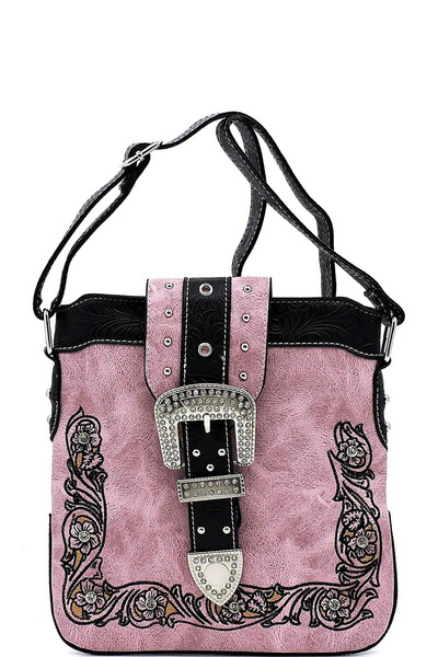Western Stone Buckle Embroidery Crossbody Bag