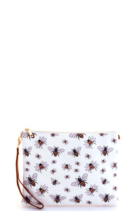 TRENDY BEE PRINT POUCH WITH TWO STRAPS