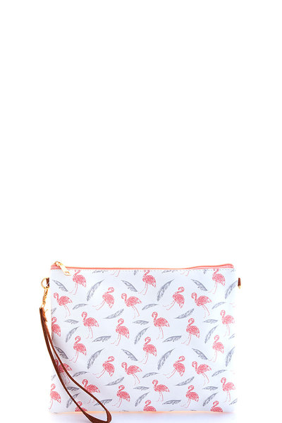 FASHION FLAMINGO PRINT POUCH WITH TWO STRAPS