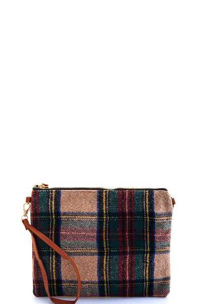 MODERN CHECK FASHION CLUTCH WITH TWO STRAPS