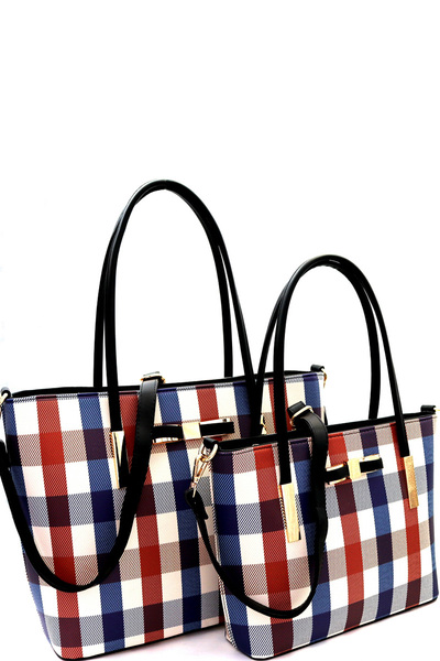 Multi-Color Checker Print Bow Accent Twin Tote SET