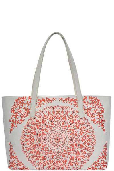 ABSTRACT MANDALA PATTERN EMBROIDERY TOTE BAG