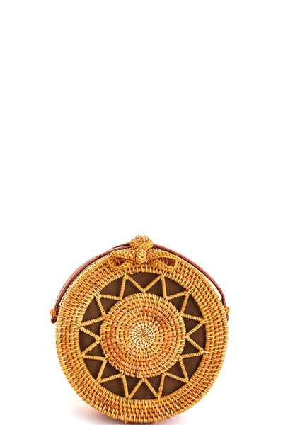 Modern Stylish Natural Woven Circle Bag