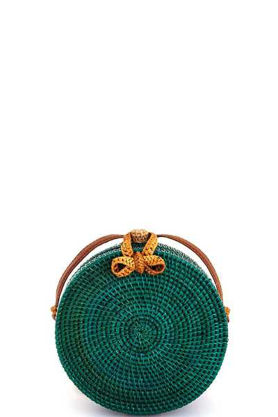Modern Trendy Natural Straw Woven Circle Bag