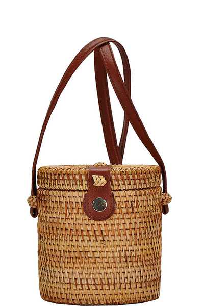 Cute Fashion Natural Woven Cylindrical Crossbody Bag