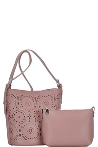 CUTE 2IN1 LASER CUT ABSTRACT PATTERN SHOULDER BAG