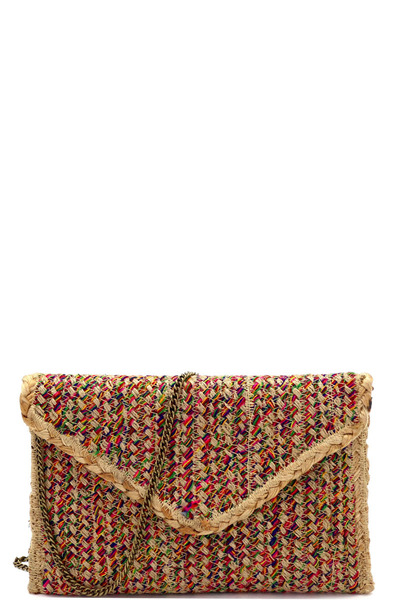 Handmade Heavy Woven Straw Boho Envelope Clutch Cross Body