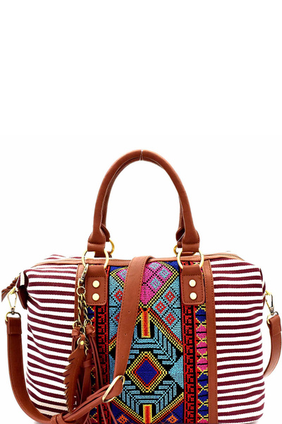 Aztec & Stripe Print Boston Satchel