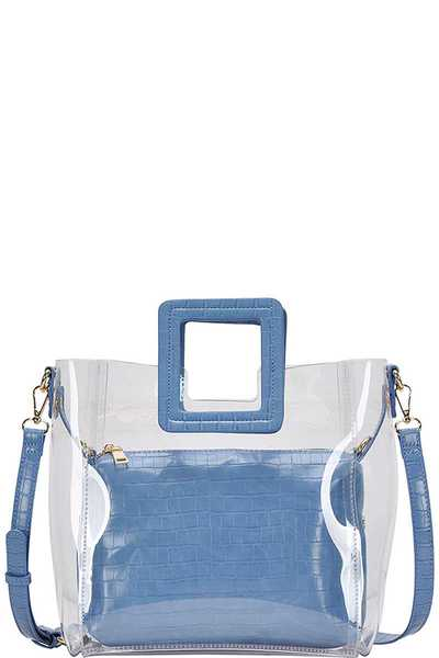 2IN1 FASHION TRANSPARENT CHIC TOTE WITH LONG STRAP
