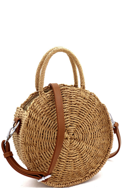 Bohemian Straw 2-Way Round Medium Satchel