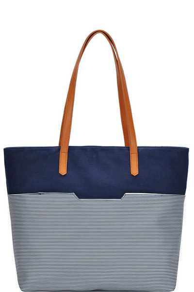 STYLISH STRIPE TWO TONE TOTE BAG