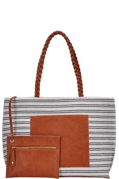 2IN1 STRIPED CANVAS TOTE BAG WITH COIN PURSE