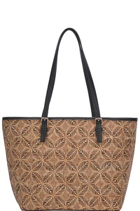 CHIC TRENDY CORK TEXTURED SHOPPER BAG