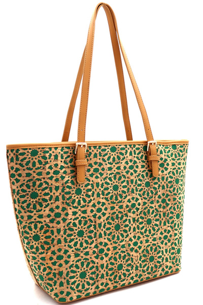 Laser-Cut Mixed-Material Cork Shopper Tote