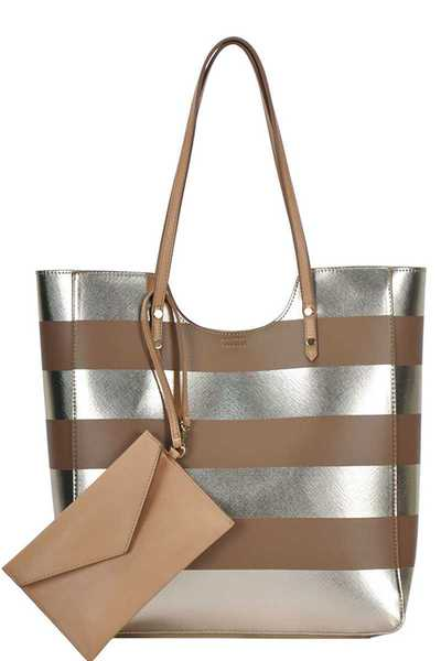 2IN1 MODERN STRIPED FASHION TOTE BAG
