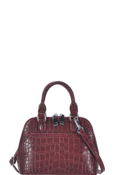 CUTE CROCO PATTERN DOMED SATCHEL WITH LONG STRAP