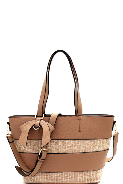 Woven Straw Mixed-Material Bow Accent 2-Way Tote