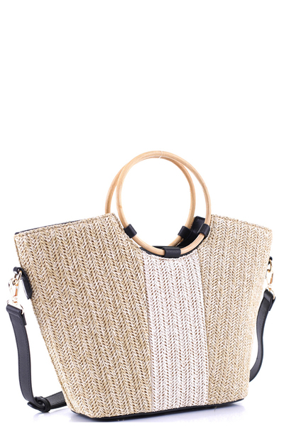 Round Bamboo Handle Two-Tone Straw 2-Way Satchel
