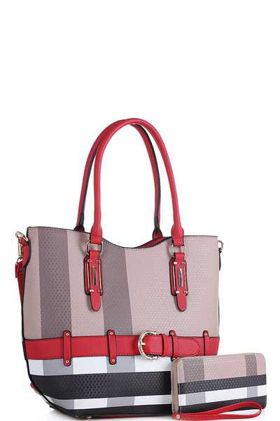 2IN1 COLOR BLOCK PLAID CHECK SATCHEL WITH MATCHING WALLET