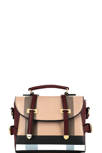 Plaid Print Belted Medium Convertible Backpack Satchel