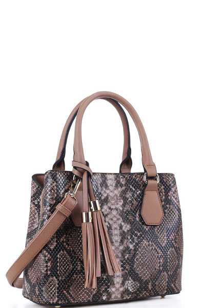 CUTE PYTHON SNAKE TEXTURE SATCHEL WITH LONG STRAP