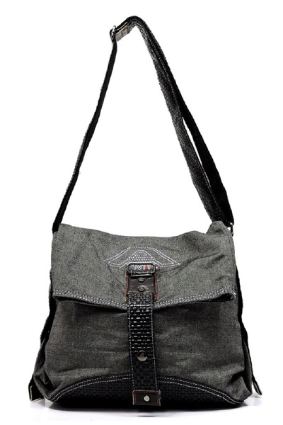 DENIM CANVAS MESSENGER BAG