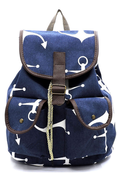 Anchor Printed Canvas Backpack