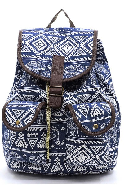 GEOMETRY Printed Canvas Backpack