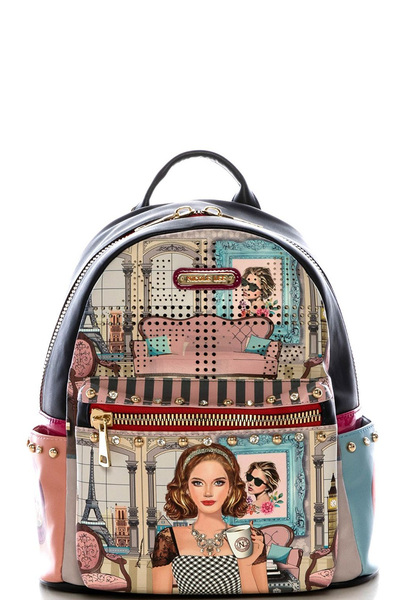 NICOLE LEE STYLISH PRINTED BACKPACK