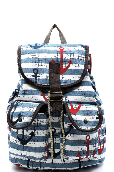 Anchor Stripe Printed Canvas Backpack