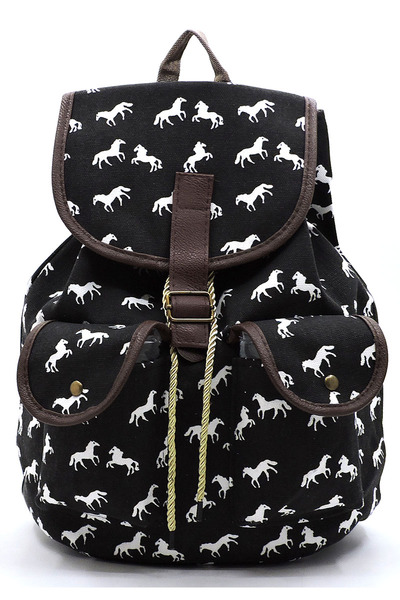 HORSE Printed Canvas Backpack