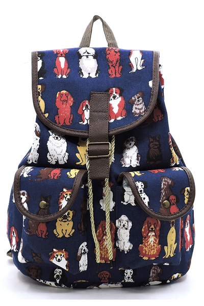 PUPPY Printed Canvas Backpack