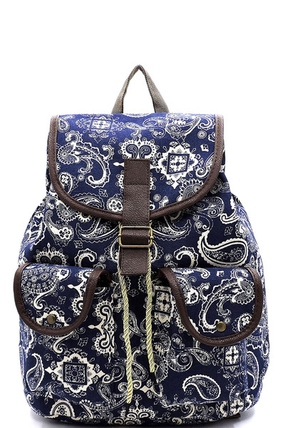 Paisley Printed Canvas Backpack
