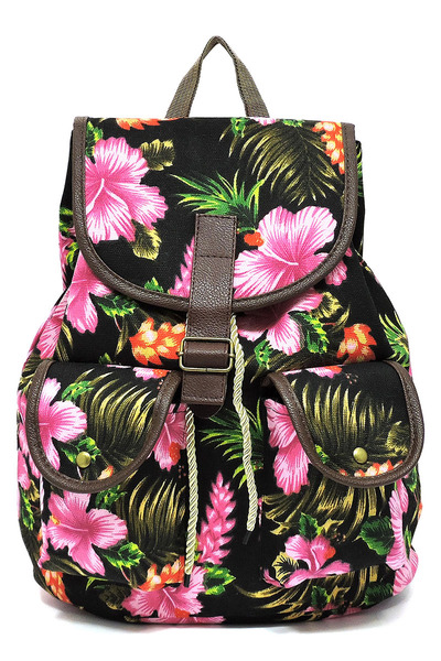 Tropical Flower Printed Canvas Backpack