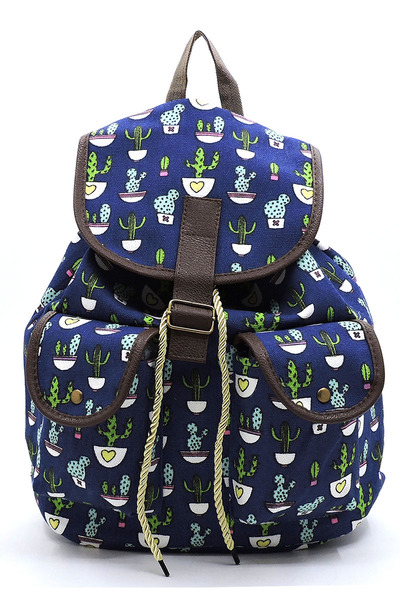 CACTUS Printed Canvas Backpack