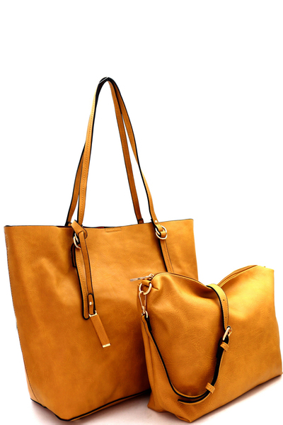 Textured Faux-leather 2 in 1 Tote