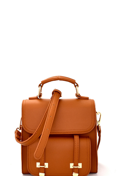 Buckle Accent Convertible Flap Backpack Satchel