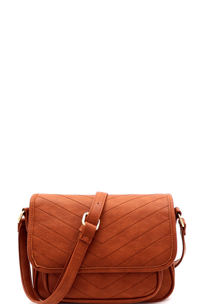 Chevron Quilted Flap Cross Body Messenger