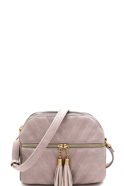 Tassel Accent Multi Compartment Chevron Quilted Dome Crossbody