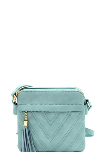 Tassel Accent Chevron Quilted 3-Compartment Cross Body