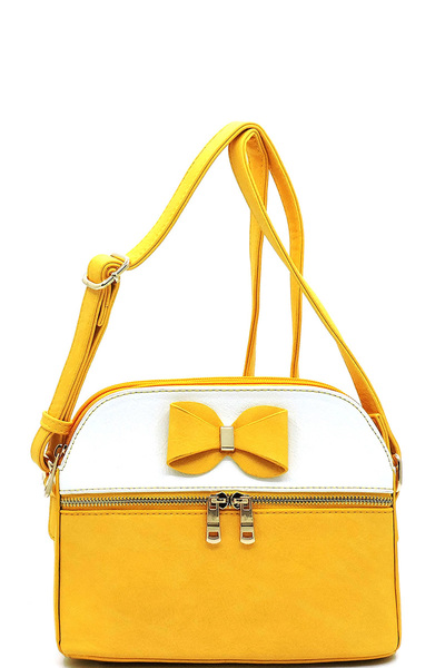 Fashion Bow Colorblock Multi Compartment Crossbody Bag