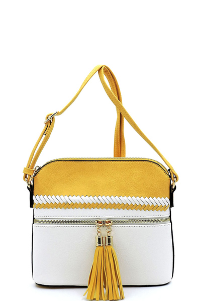 Colorblock Whipstitch Tassel Zipper Crossbody Bag