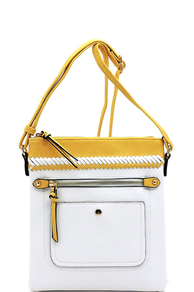 Colorblock Whipstitch Crossbody Bag