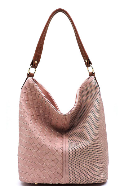 Fashion Woven Laser Cut Printed Bucket Shoulder Bag